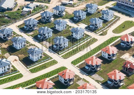 Above View Of Suburban Village