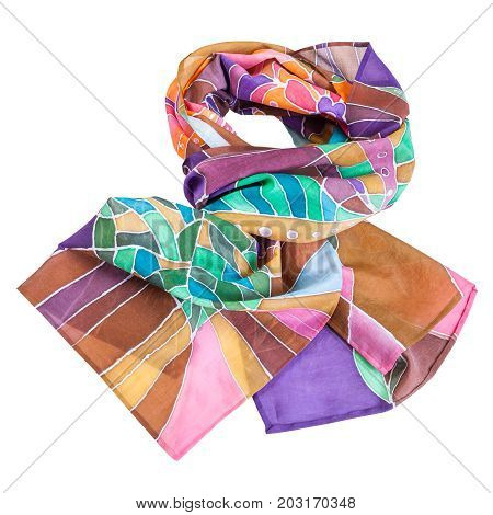 Knotted Brown, Violet, Green Batic Silk Scarf