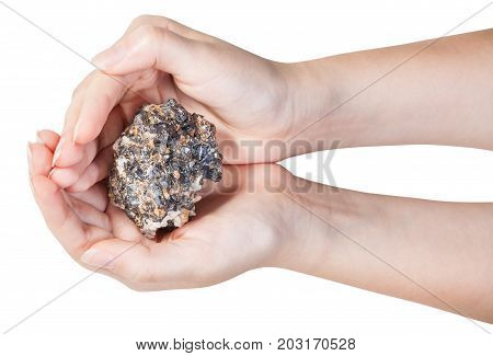 Top View Of Zinc And Lead Mineral Ore In Handful
