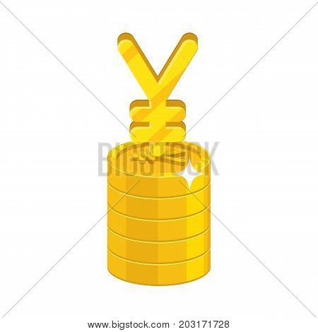 Chinese yuan or Japanese yen growing stack. Gold, precious metal investment, great currency. Business finance and economy concept. Cartoon vector illustration isolated on white background