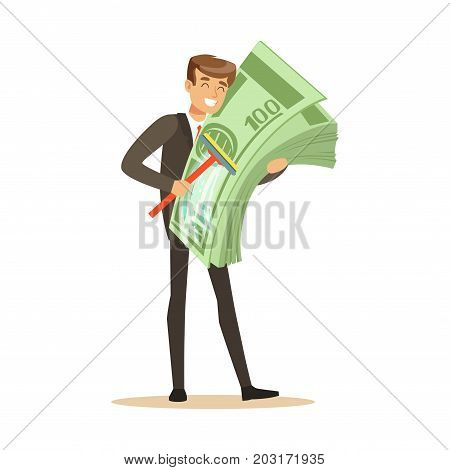 Man in a business suit washing money sing mop, illegal money laundering vector Illustration on a white background