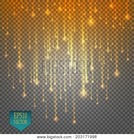 Vector rain comets isolated on transparent background. Lights. Magic concept. Vector white glitter wave abstract illustration. White star dust trail sparkling particles isolated.