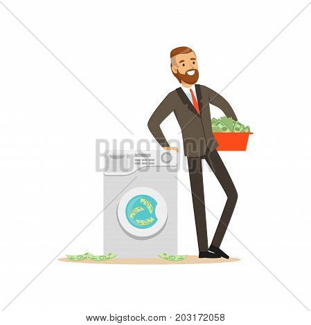 Man in a business suit washing the money in a washing machine, illegal money laundering vector Illustration on a white background