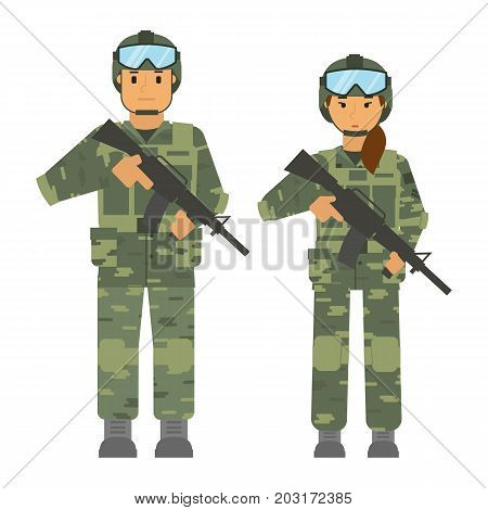 Vector arming soldiers man and woman group detachment with helmet and weapon white background isolated. Army warrior symbol. Soldier defense symbol