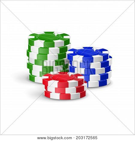 Chips piles cartoon style isolated. Heaps of casino chips of various heights for designers and illustrators. Bunch of stakes in the form of a vector illustration