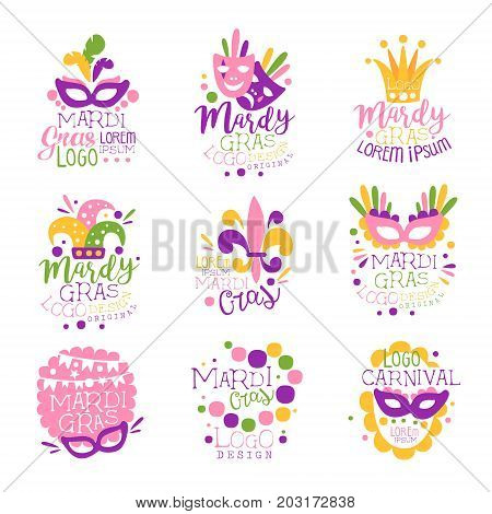 Mardi Gras carnival logo original design set, hand drawn colorful vector Illustrations for greeting cards, banners, flyers, posters, gift packaging