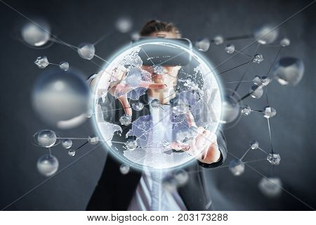 Virtual reality, 3D-technologies, cyberspace, science and people concept - happy woman in 3d glasses touching projection molecules on a black background
