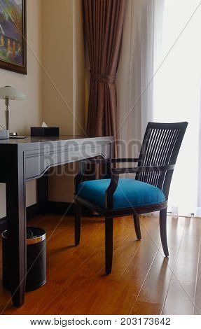 Wooden Table And Chair In Bed Room