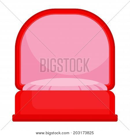Red box for ring. Gift for engagement, wedding, Valentine day, declaration of love. Flat design vector, isolated on white.