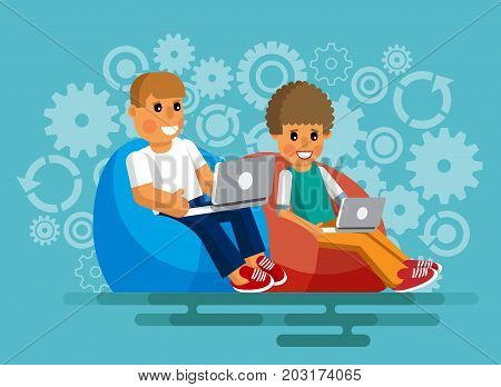 Programmers. Software developers. Programmers sit in armchairs with laptops at work. Programmers at work. Programmers sit in armchairs with laptops at work in a flat style. Vector illustration Eps10 file