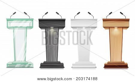 Tribune Set Vector. Podium Rostrum Stand With Microphones. Business Presentation Or Conference, Debate Speech Isolated