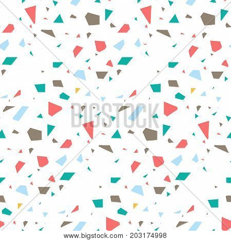 Terrazzo flooring seamless vector pattern. Coral red and blue colors repeating background.