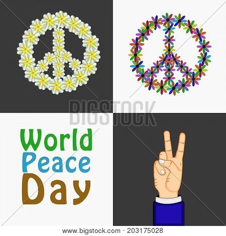 illustration of Peace Symbols, fingers and hand with World Peace Day text on the occasion of World Peace Day