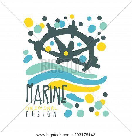 Marine original logo design, summer travel and sport hand drawn colorful vector Illustration, badge for yacht club, sailing sports or marine travel