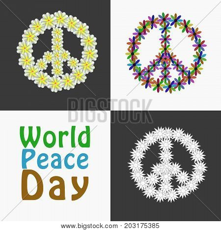 illustration of Peace Symbols with World Peace Day text on the occasion of World Peace Day