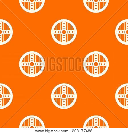 Round protective shield pattern repeat seamless in orange color for any design. Vector geometric illustration