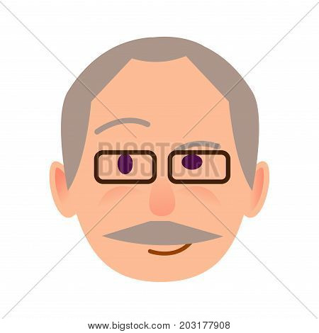 Elderly human in black-rimmed glasses with distrustful look flat icon on white background. Leer face of male conceived the idea. Vector illustration of character and face emotions in cartoon style