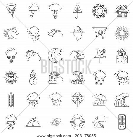 Weather forecast icons set. Outline style of 36 weather forecast vector icons for web isolated on white background