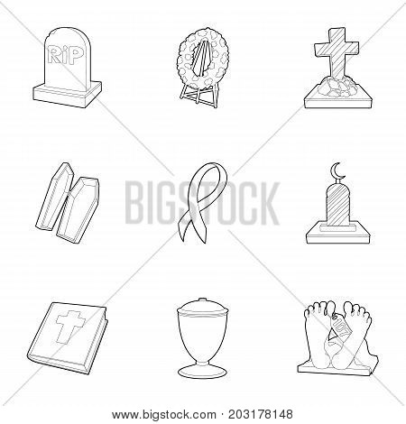Funeral icons set. Outline set of 9 funeral vector icons for web isolated on white background