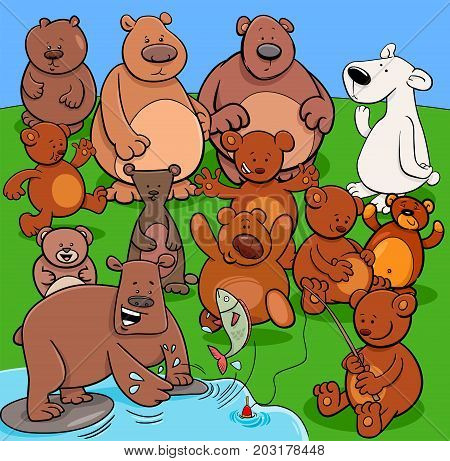 Bears Animal Characters Cartoon Illustration