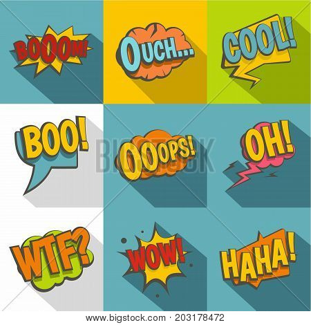 Comic sounds icon set. Flat style set of 9 comic sounds vector icons for web design