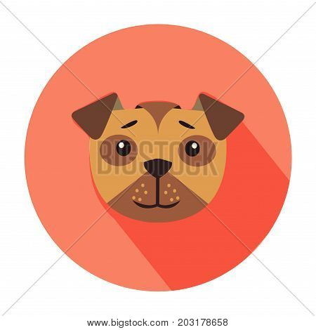 Funny cute happy cartoon puppy head in color circle flat vector isolated on white background. Lovely purebred pet illustration for animal friend concept, shop or veterinary clinic ad