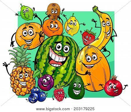 Cute Fruit Characters Group Cartoon