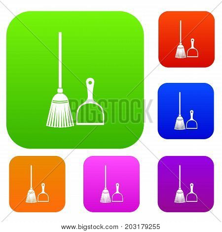 Broom and dustpan set icon in different colors isolated vector illustration. Premium collection