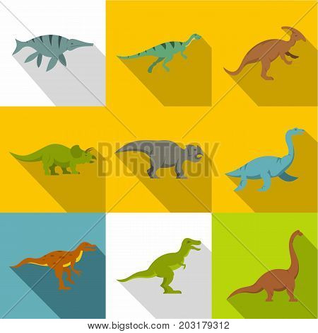Silhouettes of dinosaurs icon set. Flat style set of 9 silhouettes of dinosaurs vector icons for web design