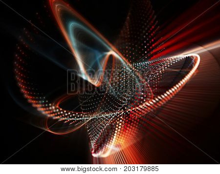 Abstract red and black background. Fractal graphics series. Three-dimensional composition of dots, waves and rays of light.