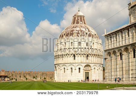 The Baptistry and the Cathedral at Piazza del Duomo in Pisa, Tuscany,Italy