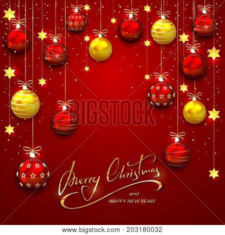 Red background with Christmas balls and golden stars. Holiday lettering Merry Christmas and Happy New Year, illustration.