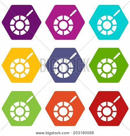 Color picker icon set many color hexahedron isolated on white vector illustration