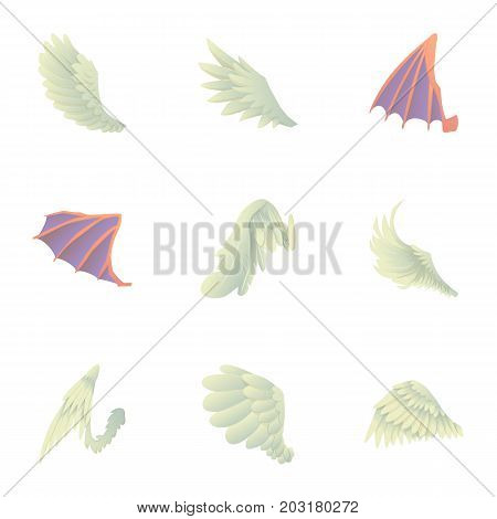 Wings icons set. Cartoon set of 9 wings vector icons for web isolated on white background