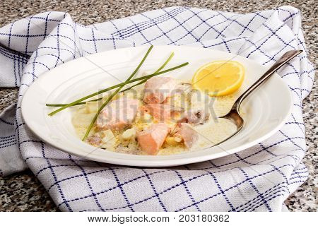 scottish specialty salmon stew with potato and dill