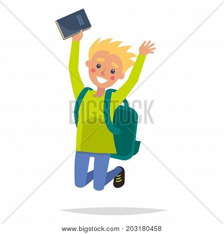 Jumping fair-haired youngster with blush on cheeks isolated on white. Dynamic boy holding blue classbook in one hand. Turquoise backpack on male shoulders. Vector illustration flat and shadow theme