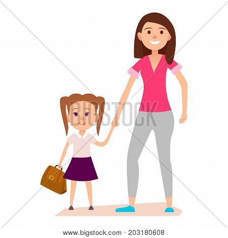 Little girl with two tails hairstyle and brown schoolbag keeps mother's hand. Vector illustration isolated on white background.