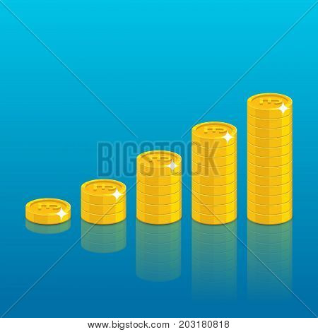 Pound coin stack. Good financial foundation start, becoming rich. Business success and economy concept. Cartoon vector illustration on blue background