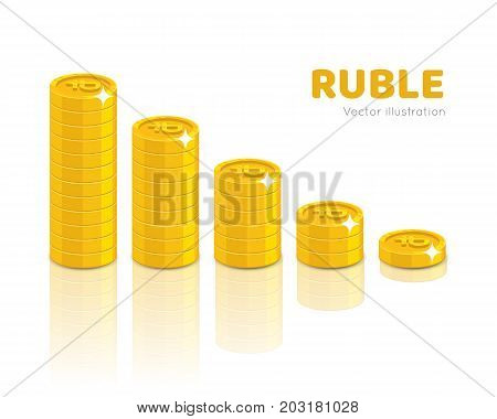 Gold rubles piles cartoon style isolated. Heaps of gold rubles of various heights for designers and illustrators. Stacks of gold pieces in the form of a vector illustration