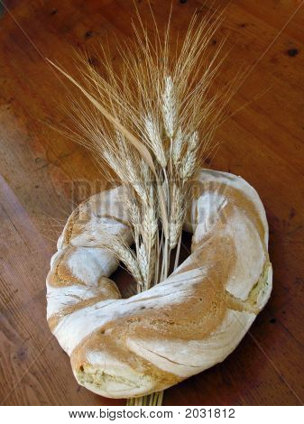Ring Shaped Loaf Of Bread With Wheat Sheaf