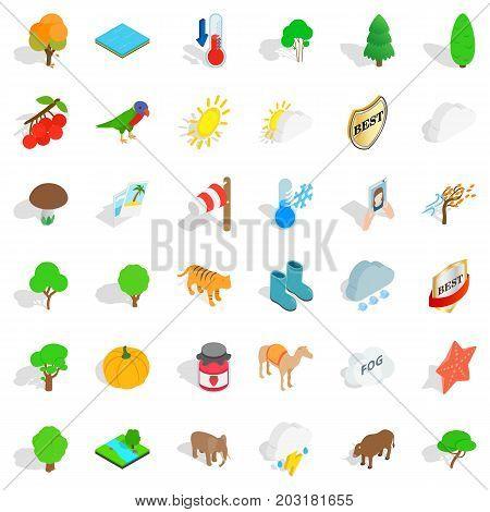 Elephant icons set. Isometric style of 36 elephant vector icons for web isolated on white background