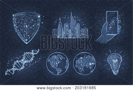 Light sketch of city with skyscrapers, two planets, smartphone in hand, lightbulb, DNA monomer and triangular sign vector illustration.