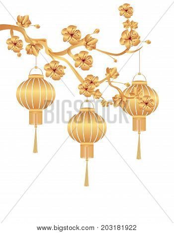 Chinese New Year. Stylized gold for Chinese lanterns on a cherry branch. Vector illustration