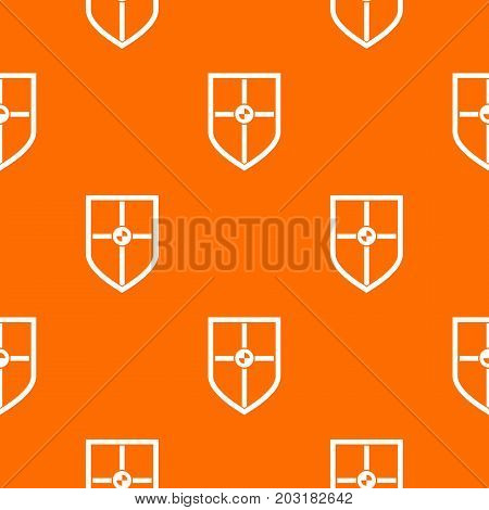 Shield for fight pattern repeat seamless in orange color for any design. Vector geometric illustration