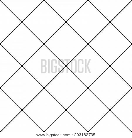Abstract seamless pattern background. Regular diagonal grid of solid lines with dots in the cross points. Vector illustration.