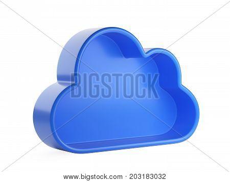 Cloud Computing and database symbol. Isolated 3D illustration isolated on w hite background.
