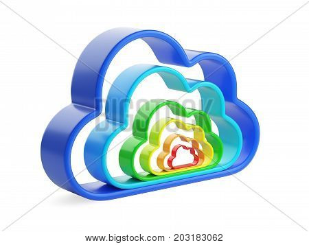 Cloud computing and database - coloured symbol. Isolated 3D illustration isolated on w hite background.