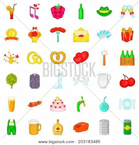 Basket icons set. Cartoon style of 36 basket vector icons for web isolated on white background