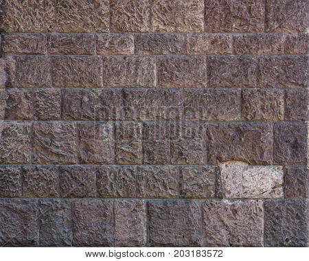 Brick Wall. Big Brown Brick Wall Background And Texture. Red Brown Brick Wall With Shabby Structure.