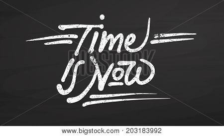 Time Is Now Quote On Chalkboard